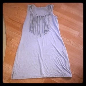 Gray Tank Dress with Fringe